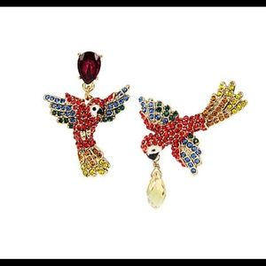 Betsy Johnson Pave Parrot Earrings